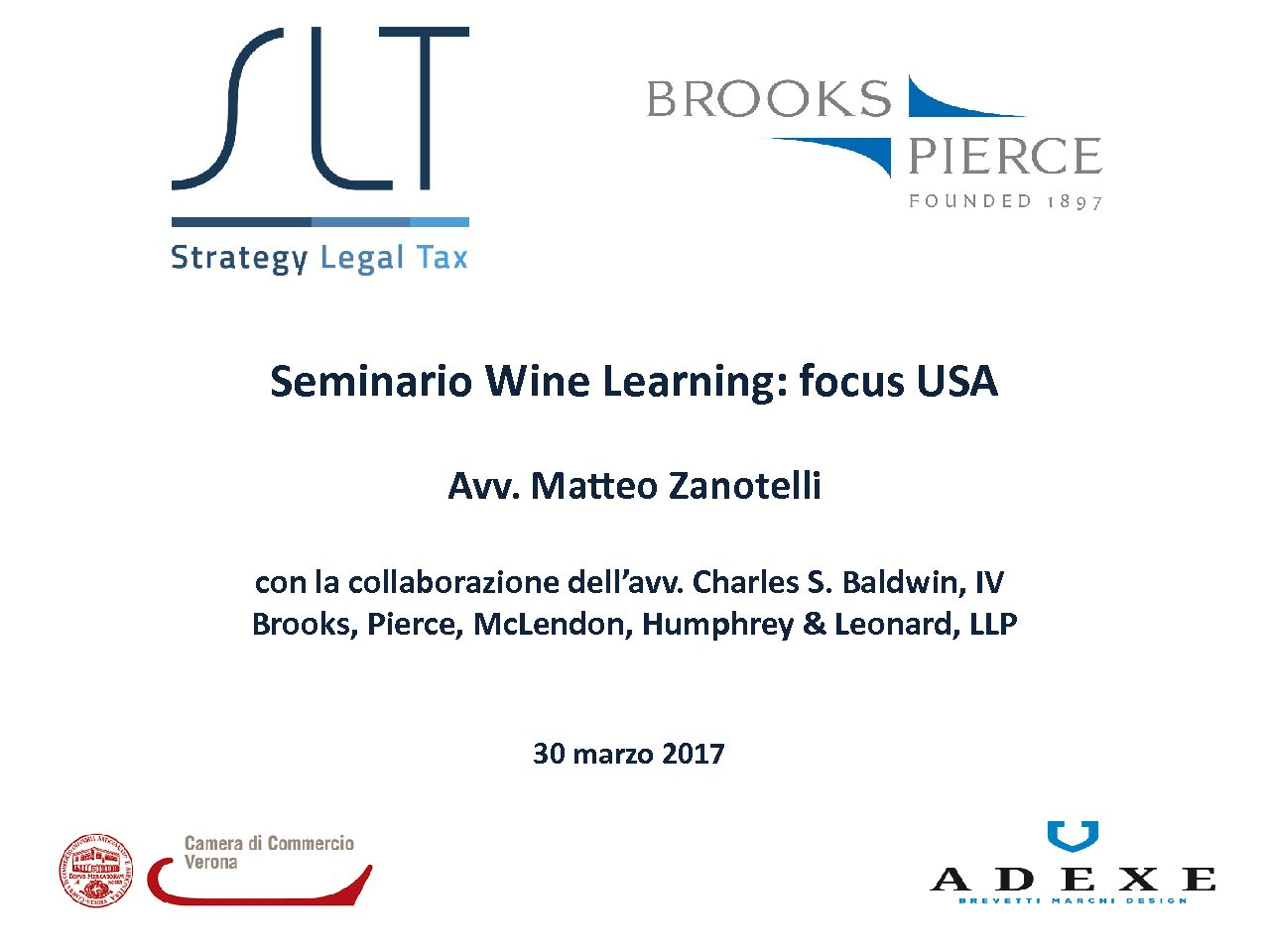 Matteo Zanotelli relatore al seminario Wine Learning: Focus USA organizzato dalla Camera di Commercio di Verona