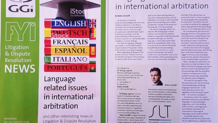 Lenguage related issue in international arbitration – Matteo Zanotelli on GGI FYI n. 9