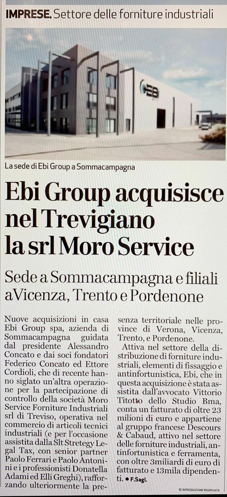 Articolo L'Arena cessione Morso service a Ebi Group