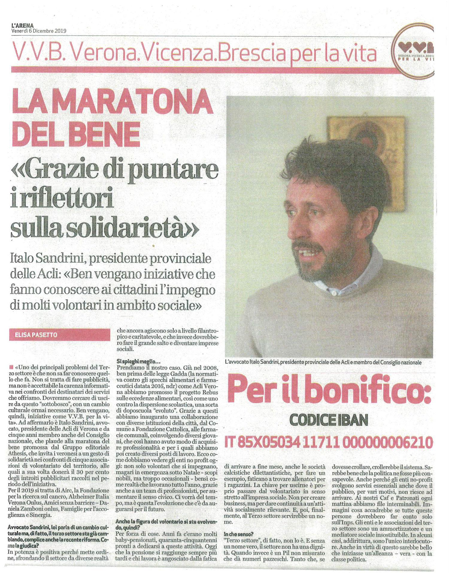 Maratona benefica VVB Verona Vicenza Brescia per la vita