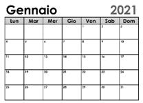 Calendario gennaio- credito pubblicità